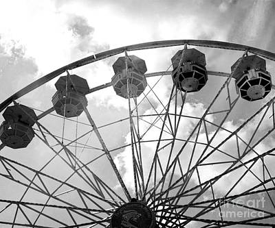 Photograph - Carnival Ferris Wheel Black And White Print - Carnival Rides Ferris Wheel Black And White Art Prints by Kathy Fornal