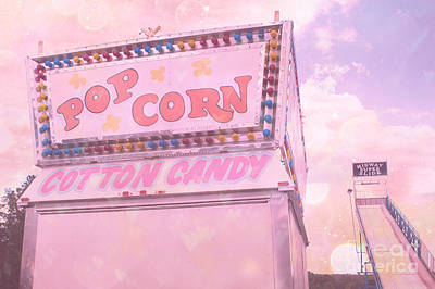 Surreal Pink Carnival Photograph - Carnival Festival Popcorn Cotton Candy Slide Fun by Kathy Fornal