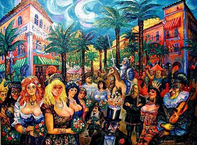 Painting - Carnival In Miami, On Espanola Way by Ari Roussimoff
