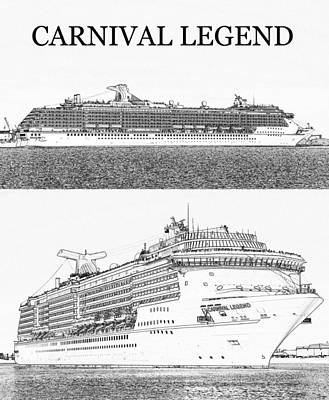 Digital Art - Carnival Legend Cruise Ship by David Lee Thompson