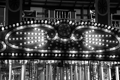 Photograph - Carnival Lights Abstract 2 Bw by Mary Bedy