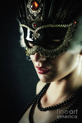 Photograph - Carnival Mask Closeup Girl Portrait by Dimitar Hristov