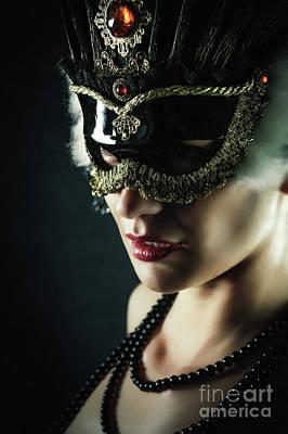 Art Print featuring the photograph Carnival Mask Closeup Girl Portrait by Dimitar Hristov