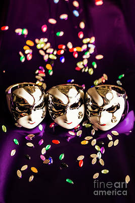Carnival Mask Jewelry On Purple Background Art Print by Jorgo Photography - Wall Art Gallery