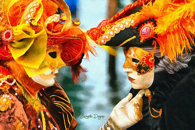 Venice Digital Art - Carnival Of Venice - Da by Leonardo Digenio