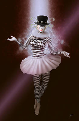 Cabaret Digital Art - Carnival Pierrette by Joaquin Abella