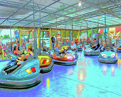 Painting - Carnival Ride Bumper Cars by Rebecca Korpita