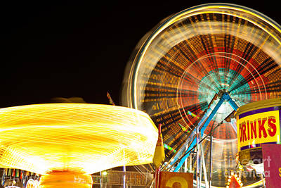 Carnival Rides At Night Picture Art Print by Paul Velgos