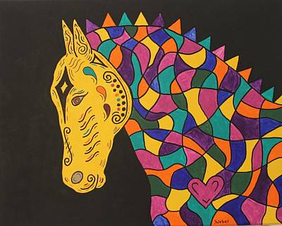 Mardi Gras Painting - Carnival Stained Glass Tribal Horse by Susie WEBER