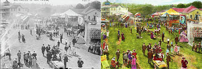 Carnival - Summer At The Carnival 1900 - Side By Side Art Print by Mike Savad