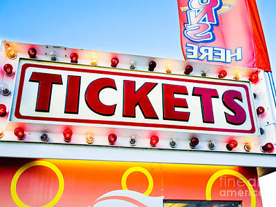 Carnival Tickets Sign Print by Paul Velgos
