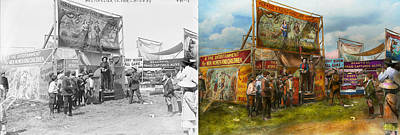 Ball Python Photograph - Carnival - Wild Rose And Rattlesnake Joe 1920 - Side By Side by Mike Savad