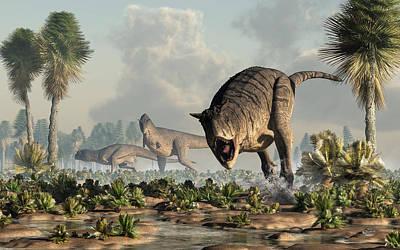 Dino Digital Art - Carnotaurs On The Hunt by Daniel Eskridge