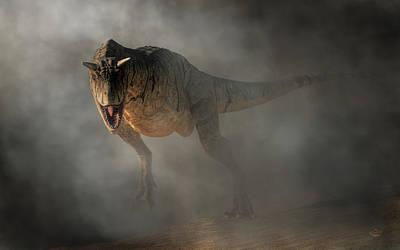 Dino Digital Art - Carnotaurus Emerging From Fog by Daniel Eskridge