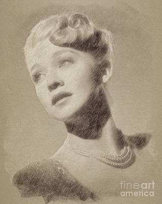 Musicians Drawings - Carole Landis, Vintage Actress by John Springfield by John Springfield