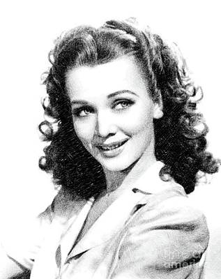 Musicians Drawings - Carole Landis, Vintage Actress by JS by Esoterica Art Agency