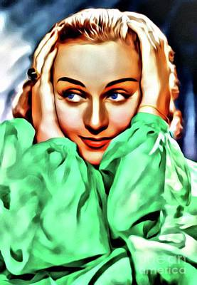Royalty-Free and Rights-Managed Images - Carole Lombard, Hollywood Legend, Digital Art by Mary Bassett by Esoterica Art Agency