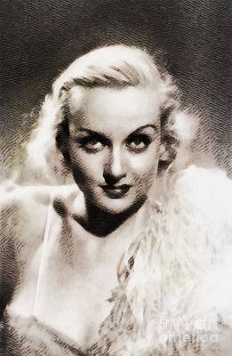 Carole Lombard Painting - Carole Lombard, Vintage Actress By John Springfield by John Springfield
