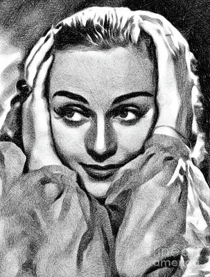 Musicians Drawings Rights Managed Images - Carole Lombard, Vintage Actress by JS Royalty-Free Image by John Springfield
