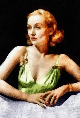 Carole Lombard Painting - Carole Lombard, Vintage Actress by John Springfield