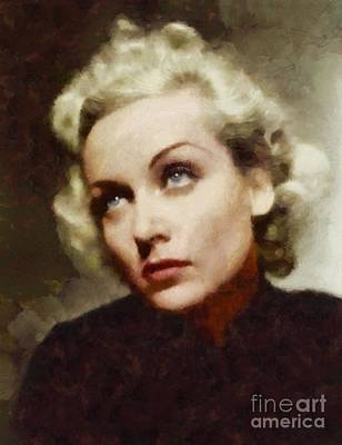 Carole Lombard Painting - Carole Lombard, Vintage Actress by Sarah Kirk