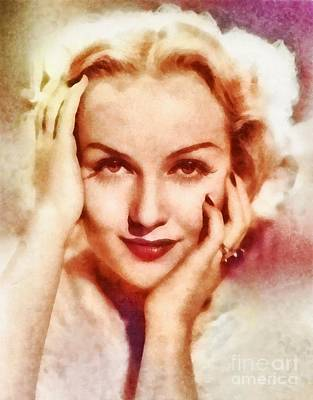 Carole Lombard Painting - Carole Lombard, Vintage Hollywood Actress by Frank Falcon