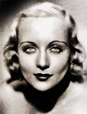 Carole Lombard Painting - Carole Lombard, Vintage Hollywood Legend by John Springfield