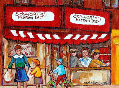 Montreal Restaurants Painting - Carole Spandau Paints Montreal Memories - Montreal Landmarks - Schwartzs Hebrew Deli St. Laurent  by Carole Spandau