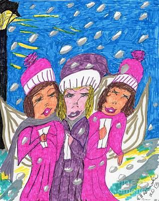 Angel Carolers On A Snowy Night Art Print