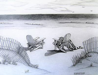 Beach Landscape Drawing - Carolina Beach Nc by Ralph Blankenship