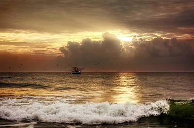 Beach Photograph - Carolina Beach Shrimp Boat At Sunrise by Chrystal Mimbs
