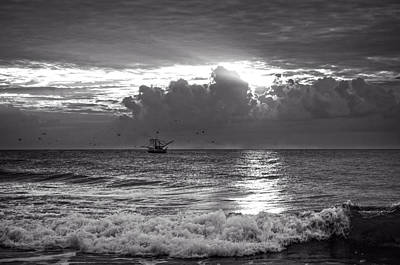 Beach Photograph - Carolina Beach Shrimp Boat At Sunrise In Black And White by Chrystal Mimbs