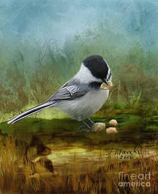 Painting - Carolina Chickadee Feeding by Judy Filarecki
