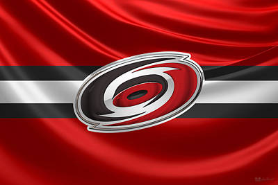 Digital Art - Carolina Hurricanes - 3 D Badge Over Silk Flag by Serge Averbukh
