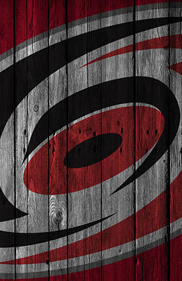 Hockey Digital Art - Carolina Hurricanes Wood Fence by Joe Hamilton