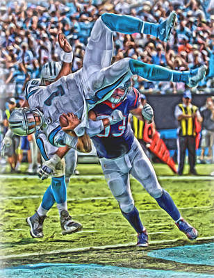 Newton Mixed Media - Carolina Panthers Cam Newton Oil Art by Joe Hamilton