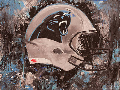 Painting - Carolina Panthers Football Helmet Painting Wall Art by Gray Artus