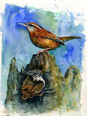 Carolina Wren And Baby Art Print by John D Benson