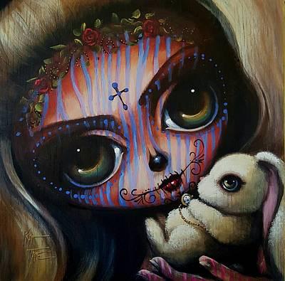 Skull In Rose Painting - Caroline by Kat Tatz