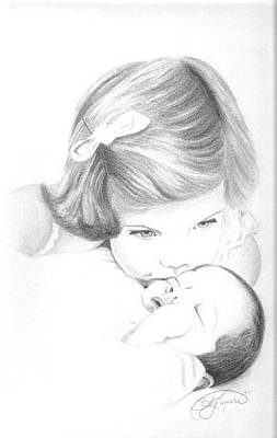 F And F Baby Drawing - Caroline Kennedy And Jfk Jr. by Rebecca Bellomo