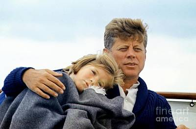 Fitz Painting - Caroline Kennedy And President Kennedy by Celestial Images