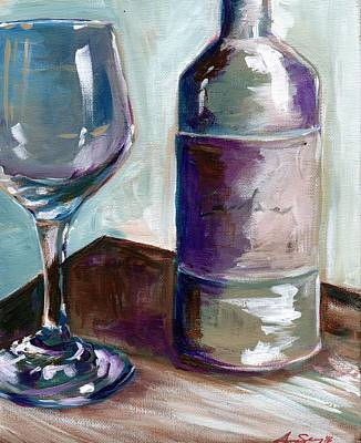 Wine Reflection Art Painting - Caroline Wine by Anne Seay
