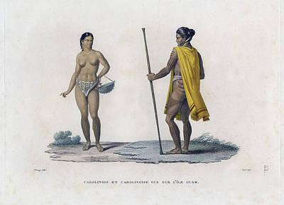 Drawing - Carolinois Et Carolinoise Vue Sur Lile Guam by Jacques Arago