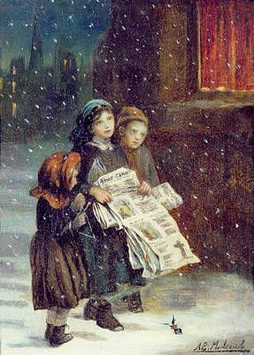 Carols For Sale  Art Print by Augustus Edward Mulready