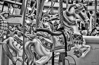 Photograph - Carosel Dreams  Horses  Bw by Lesa Fine