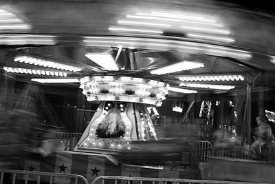 Photograph - Carousel Abstract 3 2017 Bw by Mary Bedy