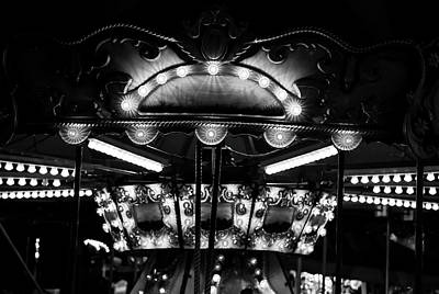 Photograph - Carousel Abstracted 2017 Bw by Mary Bedy
