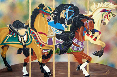 Merry-go-round Painting - Carousel Beauties by Debbie LaFrance
