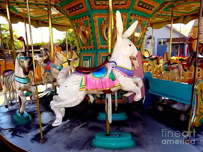 Mixed Media - Carousel Bunny by Ed Weidman