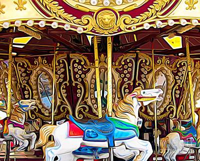 Mixed Media - Carousel Erie County Fair 2017 Expressionist Effect by Rose Santuci-Sofranko